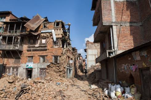 A scene of devastation in Kathmandu after the first earthquake which struck on 25 April.