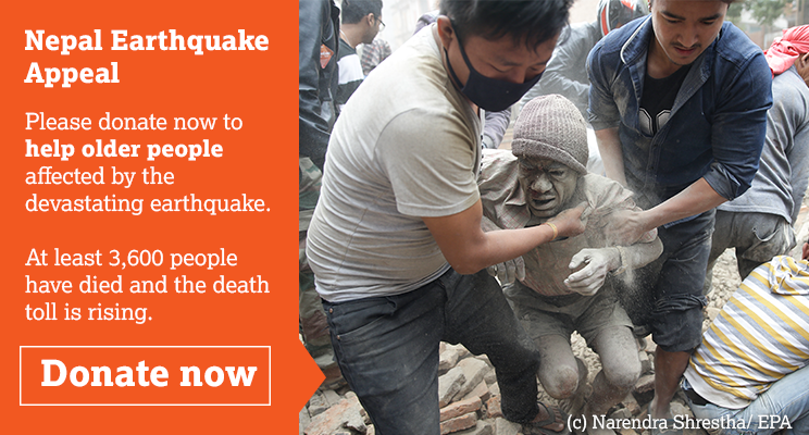 Donate now to help older people affected by the Nepal earthquake. (c) EPA / NARENDRA SHRESTHA