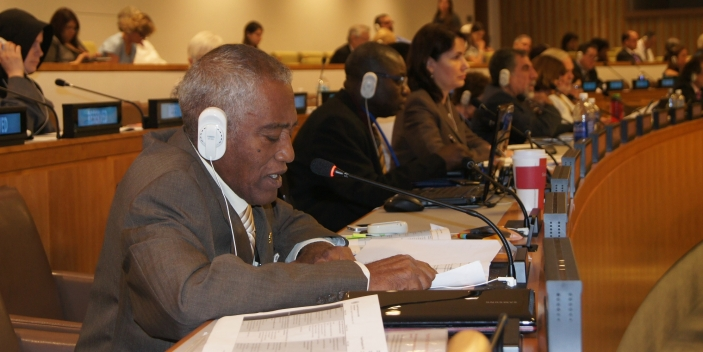 Older campaigner Kenneth Hemley making an intervention at the UN Open-ended Working Group (c) HelpAge International