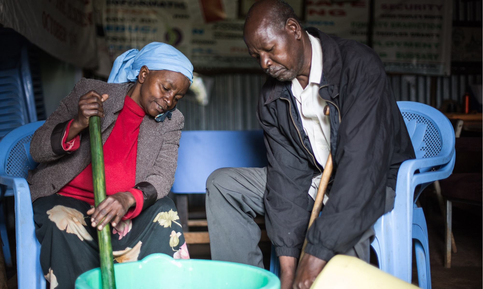 An older man and woman in Kenya make soap to sell - a way of ensuring they have an income (c) Benj Binks/HelpAge International