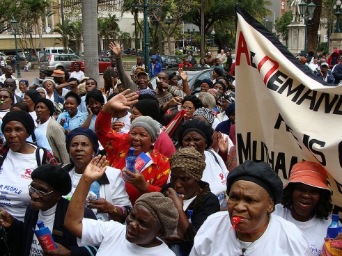 Older women protesting for their rights in Durban, South Africa.