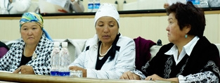 Older campaigners talk to their government in Kyrgyzstan