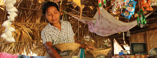 A woman in her shop in Myanmar.