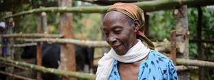 An older woman in Kenya with the cow she bought through a HelpAge grant.