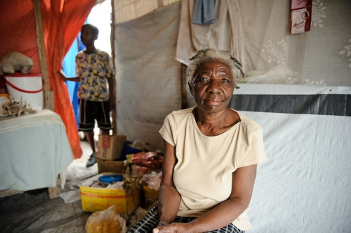 Renette lives in a temporary camp in Port-au-Prince with her two grandchildren.