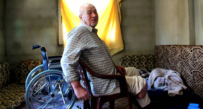 Ahmed, 67, from Lebanon suffers from diabetes and cardiovascular disease. Complications of his diabetes led to the amputation of his lower right leg.