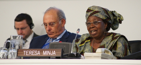 Teresa, an older HelpAge campaigner from Tanzania, speaks at the UN Open-ended Working Group on Ageing in New York.