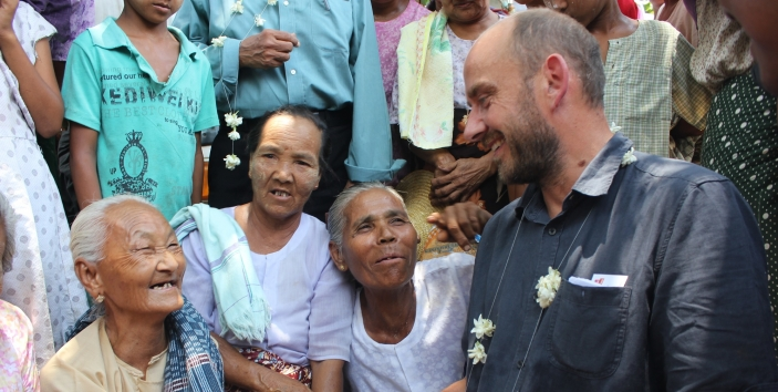 Toby Porter with older women in Myanmar in 2014
